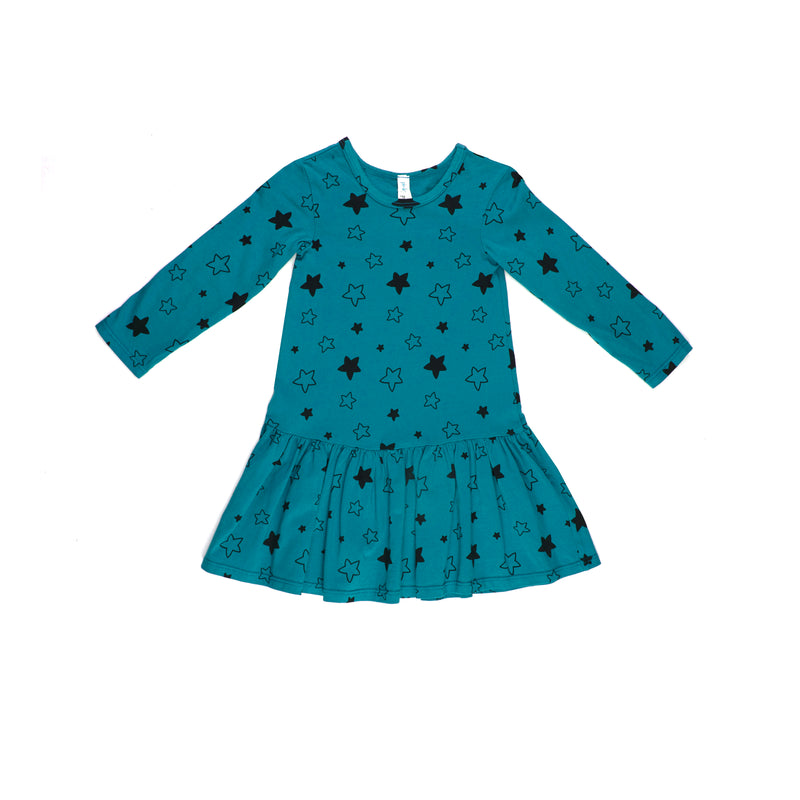 Star Bright Long Sleeve Drop Waist Dress, Azure