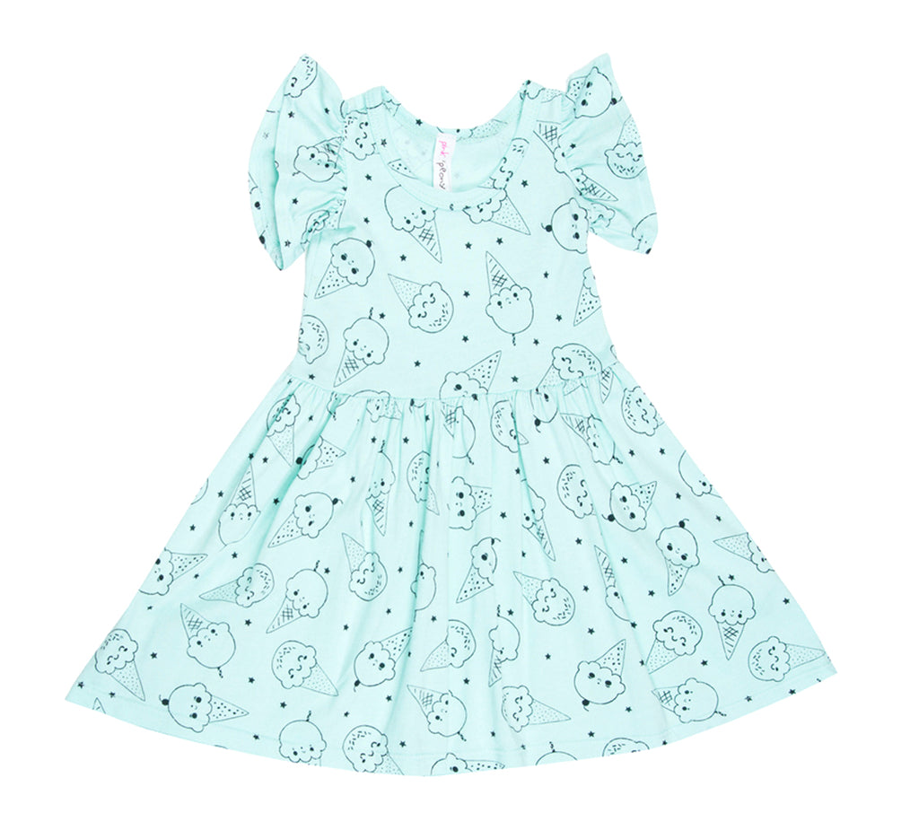 Ice Cream Smiles Ruffle Tank Dress, Marvelous Mint