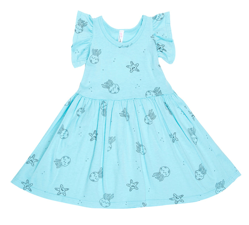 Jelly Star Fish Ruffle Tank Dress, Aqua