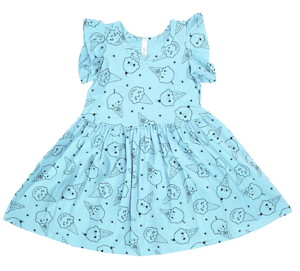 Ice Cream Smiles Ruffle Tank Dress, Baby Blue