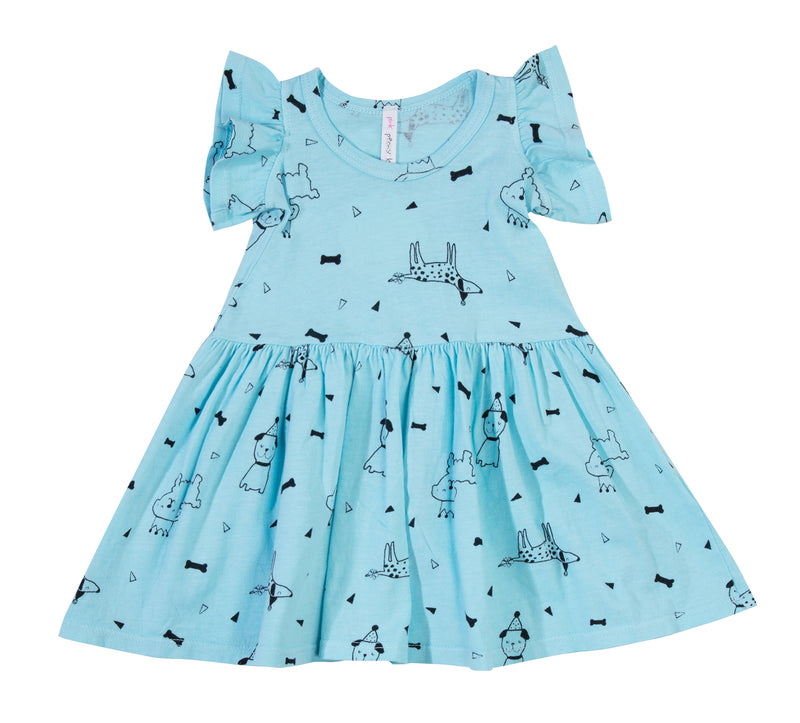 Puppy Party Ruffle Tank Dress, Baby Blue