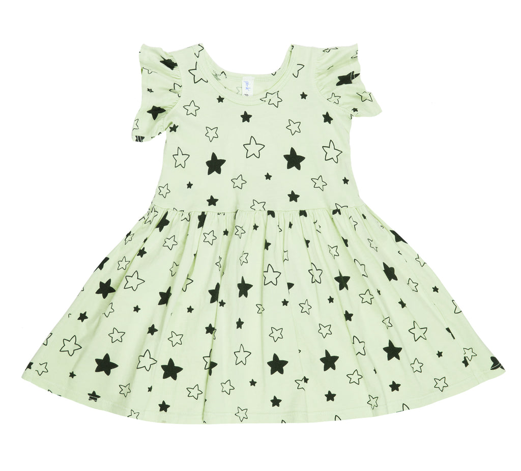 Star Bright Ruffle Tank Dress, Baby Lime