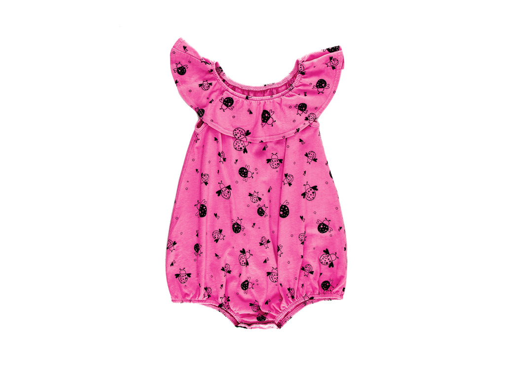 Love, Miss Ladybug Bubble Onesie with Flounce in Hot Pink