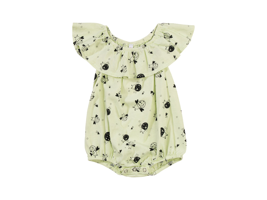 Love, Miss Ladybug Bubble Onesie with Flounce, Baby Lime