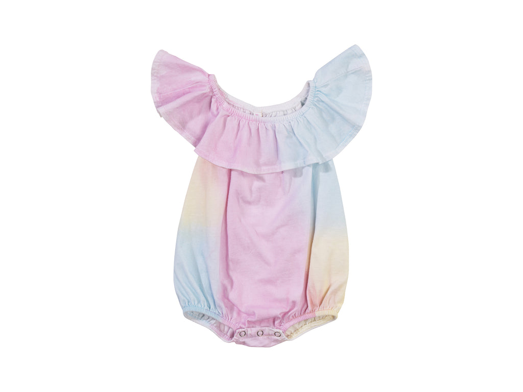 Bubble Onesie with Flounce, Unicorn Rainbow