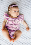 Rainbow Smiles Bubble Onesie with Flounce, Peony Pink