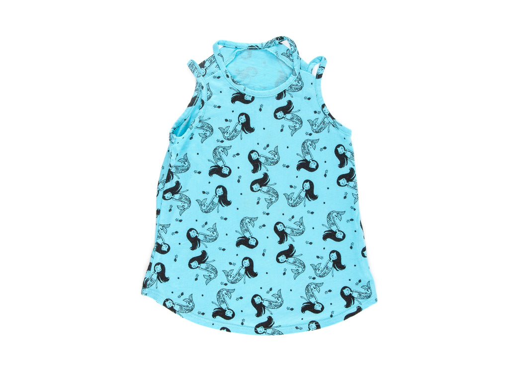 Little Miss Mermaid Cut Out Tank Top in Aqua