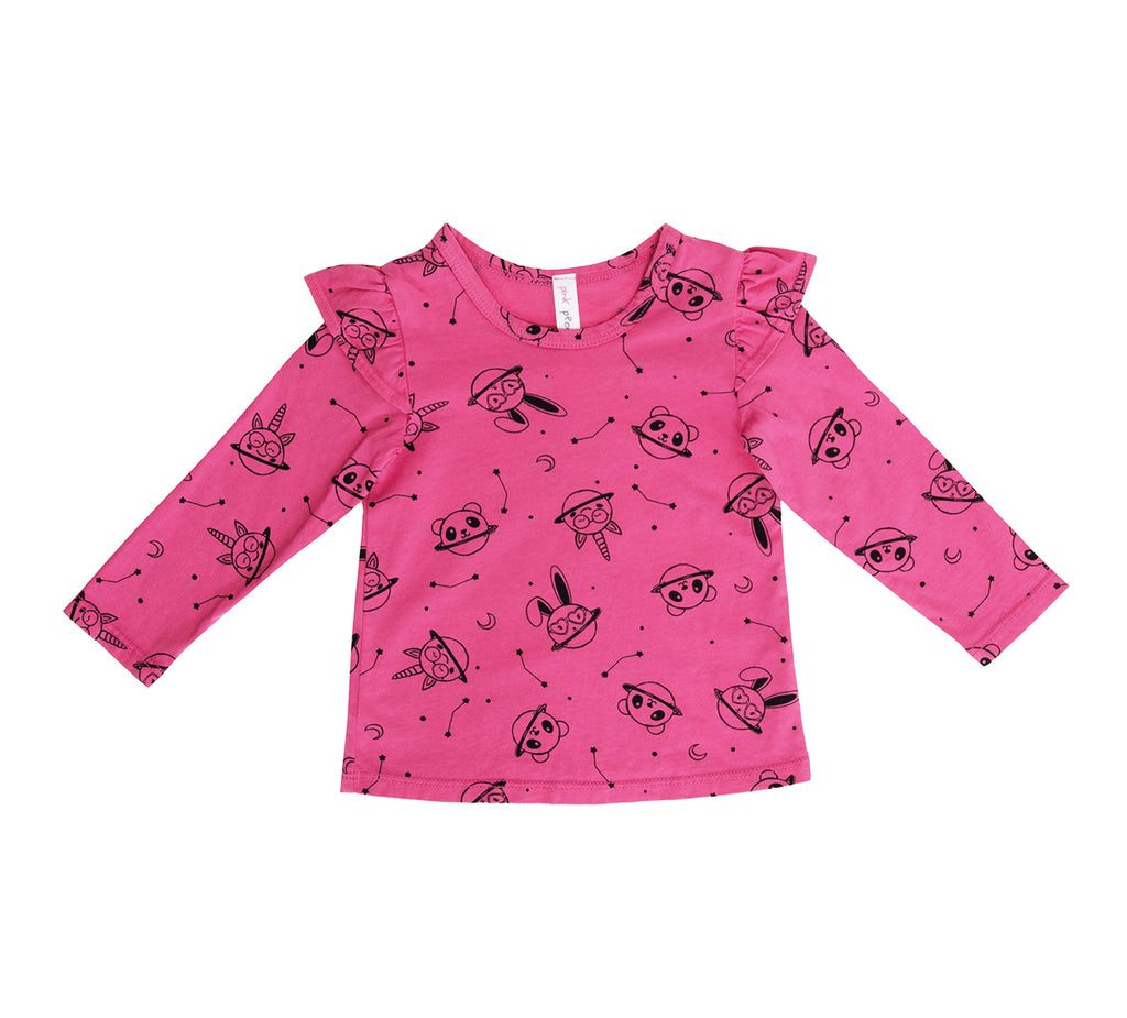 Animal Planet Ruffle Shoulder Long Sleeve Tee, Hot Pink