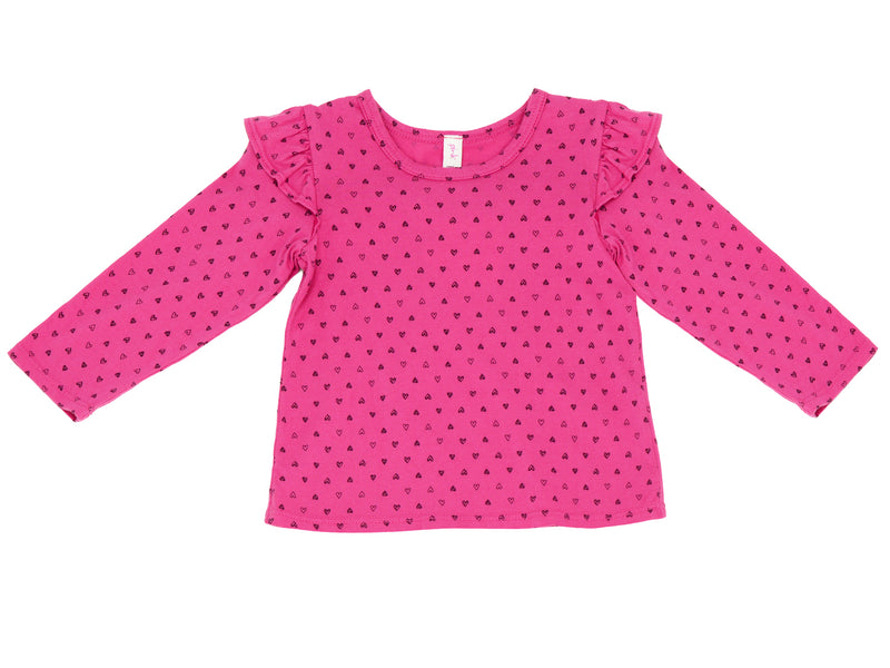 Confetti Hearts Ruffle Shoulder Long Sleeve Tee, Raspberry