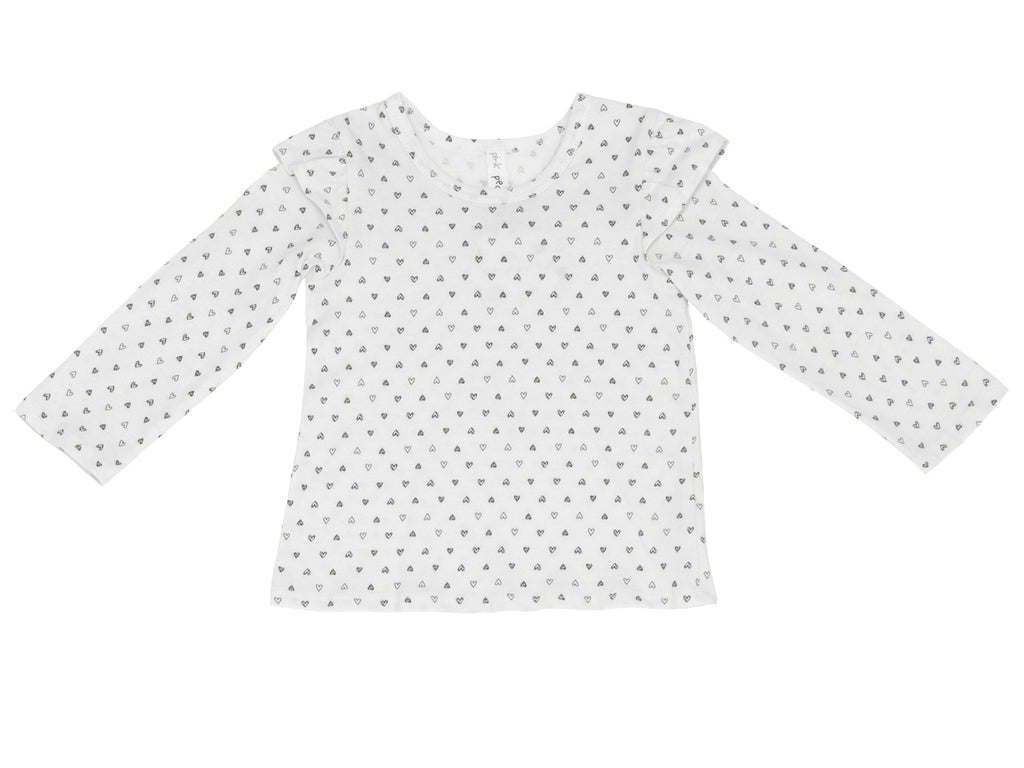Confetti Hearts Ruffle Shoulder Long Sleeve Tee, White