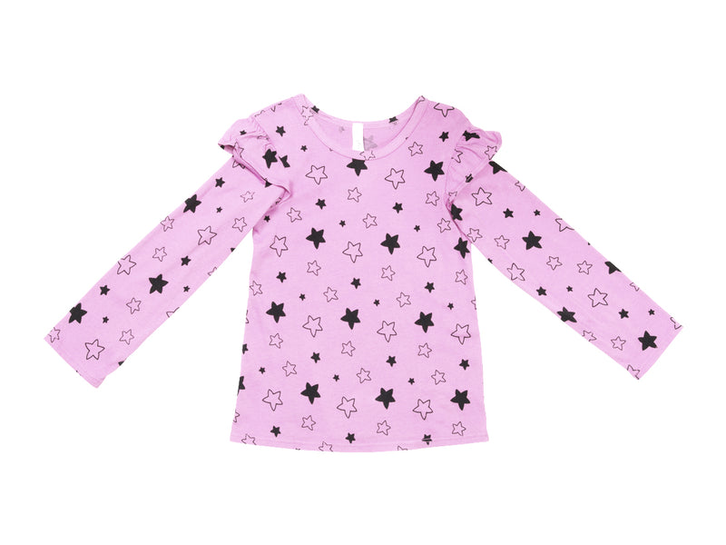 Star Bright Ruffle Shoulder Long Sleeve Tee, Peony Pink