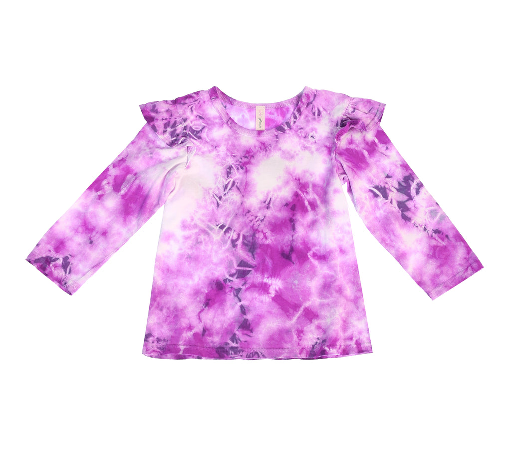 Crystal Tie Dye Ruffle Shoulder Long Sleeve Tee, Violet Orchid