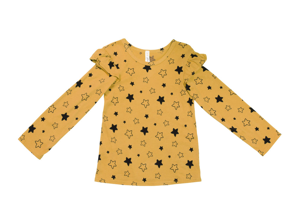 Star Bright Ruffle Shoulder Long Sleeve Tee, Marigold