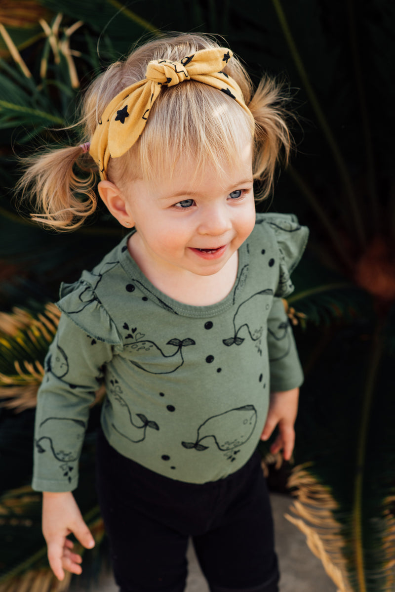 Whale Ruffle Sleeve Baby Onesie, Olive