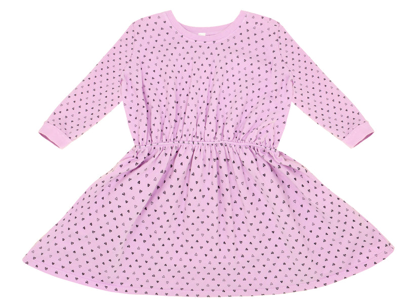 Confetti Hearts Sweater Dress, Peony Pink