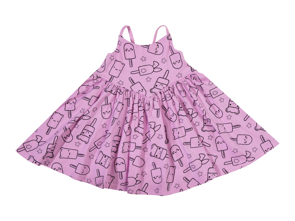 Popsicle Smiles Cross Back Dress, Peony Pink