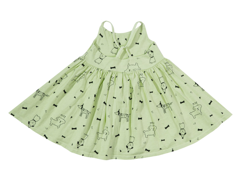 Puppy Party Cross Back Dress, Baby Lime