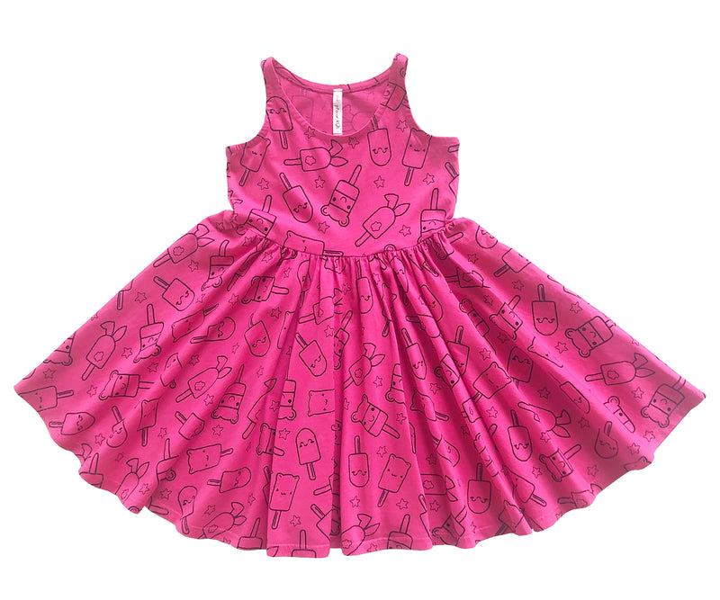 Popsicle Smiles Twirl Dress, Hot Pink