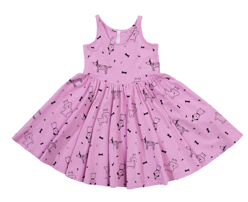 Puppy Party Twirl Dress, Peony Pink