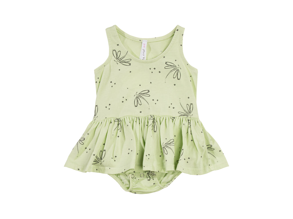 Dragonfly Dreams Tutu Onesie, Baby Lime