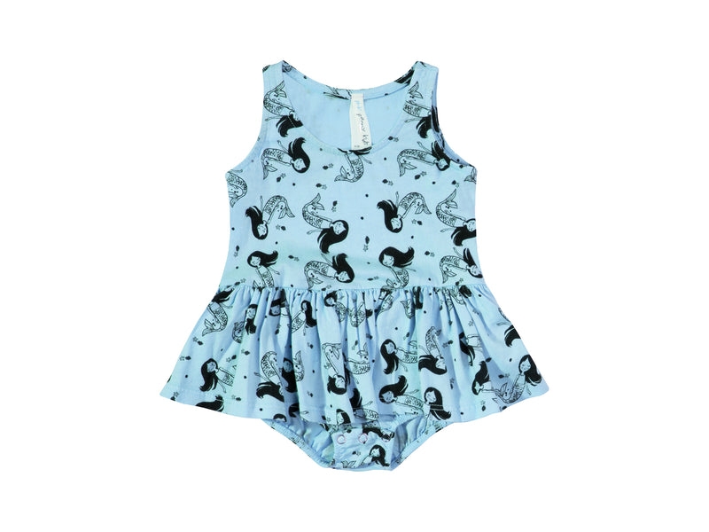 Little Miss Mermaid Tutu Onesie, Baby Blue