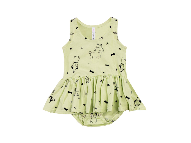 Puppy Party Tutu Onesie, Baby Lime