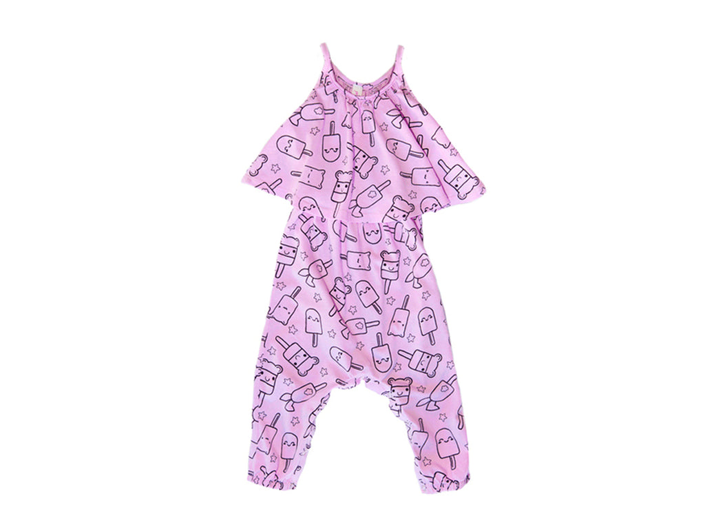 Popsicle Smiles Baby Swing Romper, Peony Pink