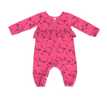 Whale Ruffled Empire Baby Romper, Hot Pink
