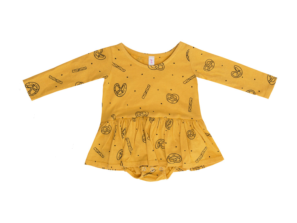 Pretzel Mix Long Sleeve Tutu Onesie, Dandelion