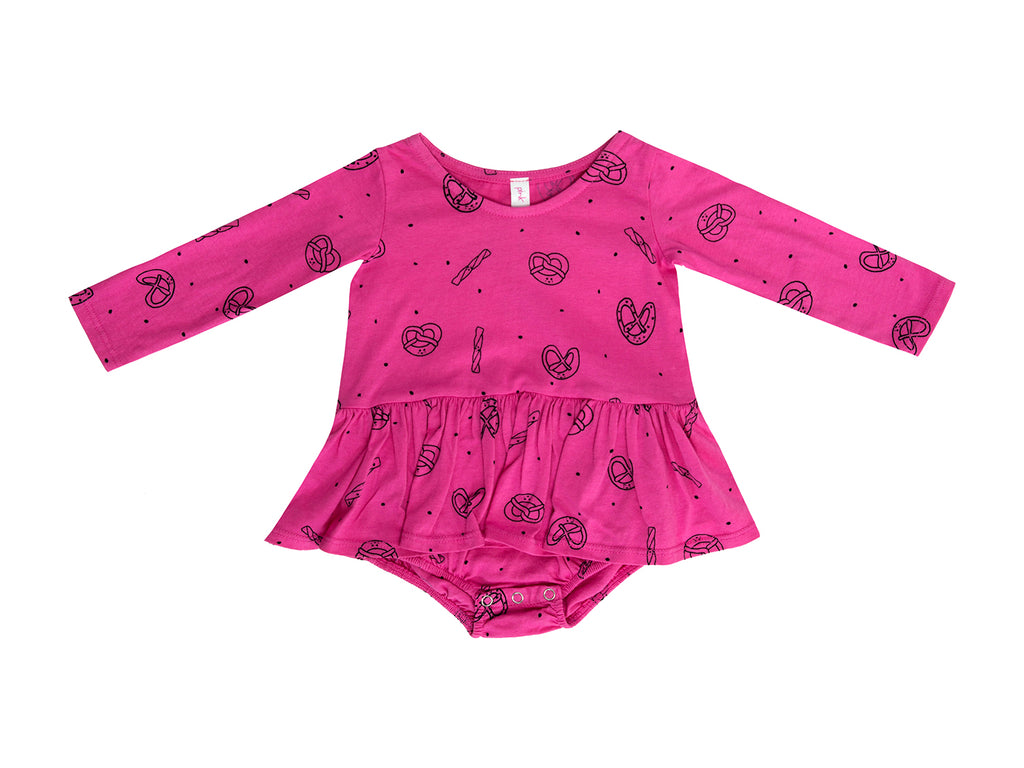 Pretzel Mix Long Sleeve Tutu Onesie, Hot Pink