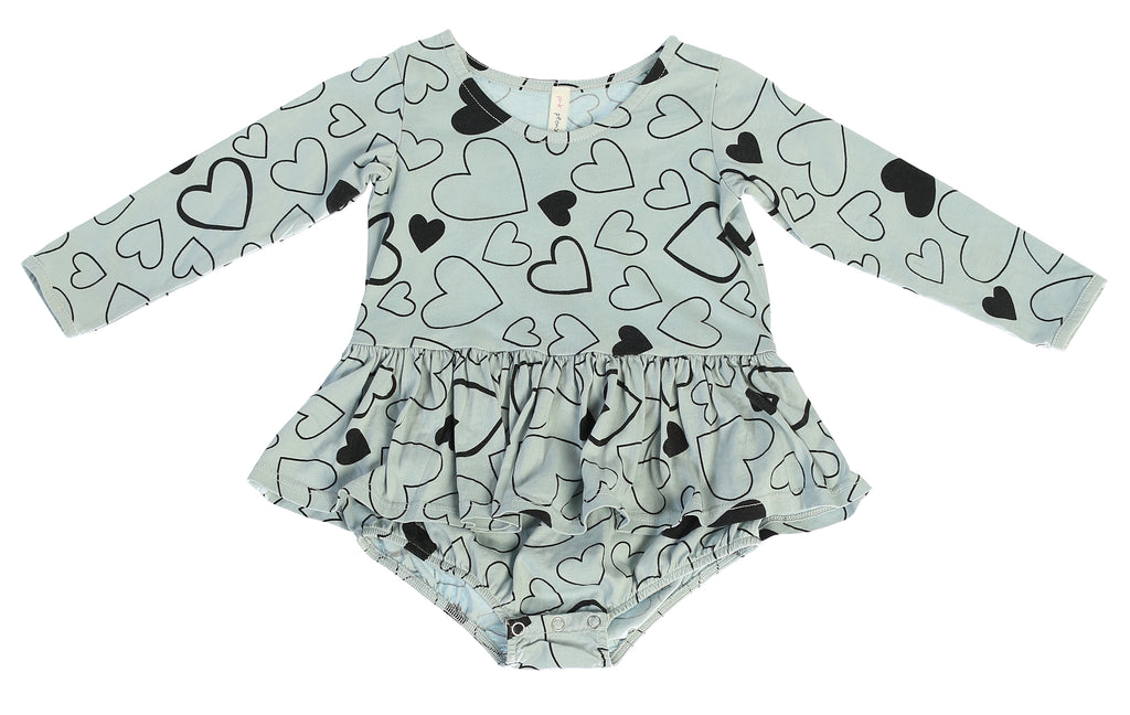 Confetti Love Long Sleeve Tutu Onesie, Dusty Blue