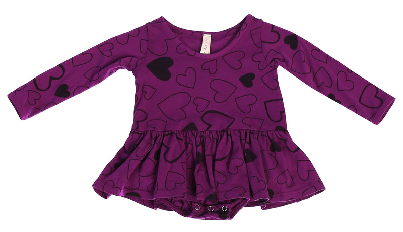 Confetti Love Long Sleeve Tutu Onesie, Mulberry