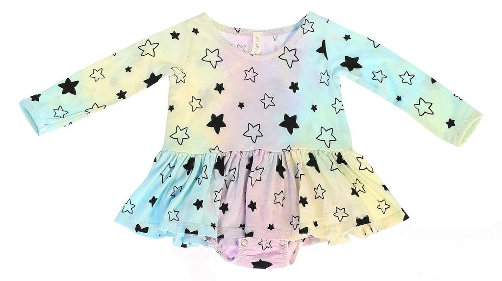 Star Bright Long Sleeve Tutu Onesie, Unicorn Rainbow Tie Dye