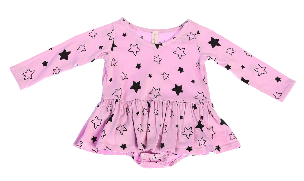 Star Bright Long Sleeve Tutu Onesie, Peony Pink