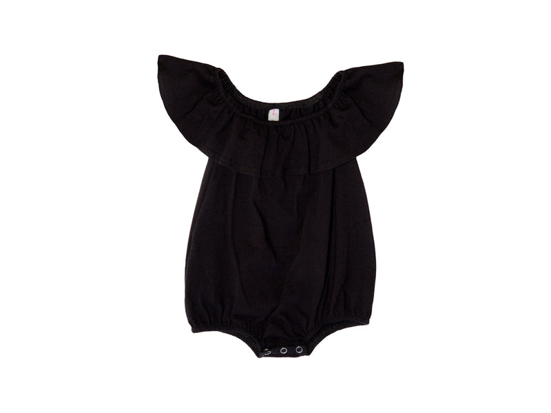 Baby Bubble Onesie with Flounce, Black