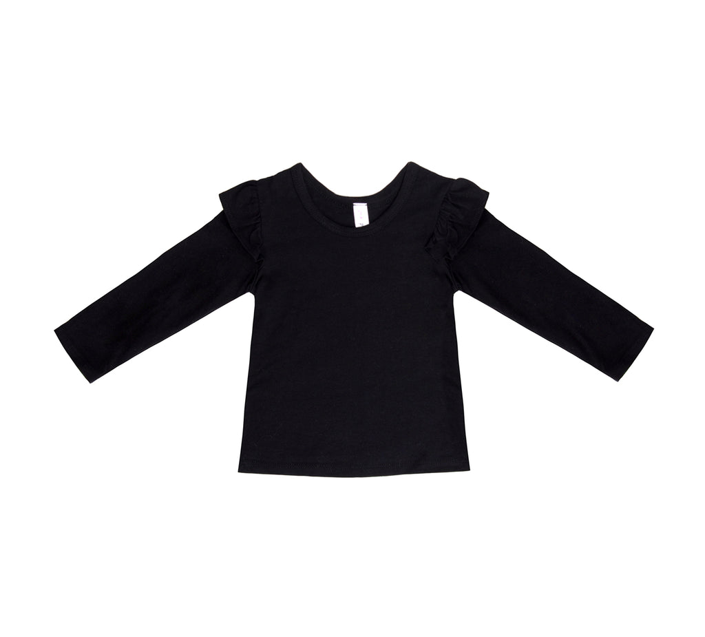 Noir Ruffle Shoulder Long Sleeve Tee, Black