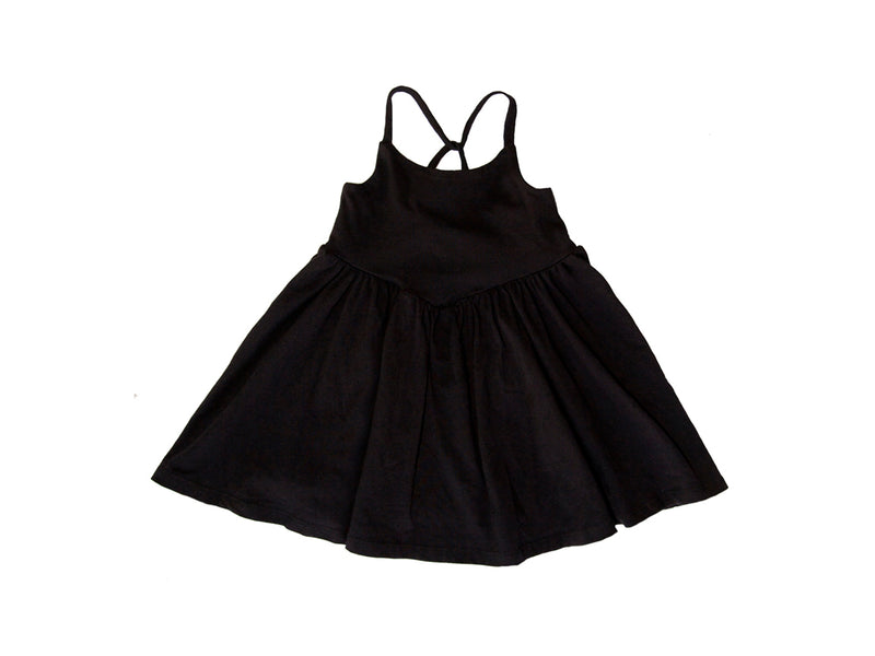 Cross Back Twirl Dress, Black