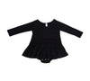 Noir Long Sleeve Tutu Onesie, Black