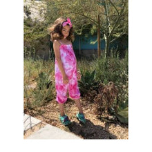 Cross Back Tie Dye Romper, Hot Pink