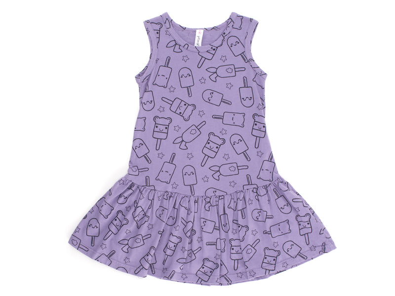 Popsicle Smiles Print Drop Waist Dress in Violet