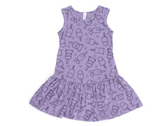 Popsicle Smiles Print Drop Waist Dress, Violet