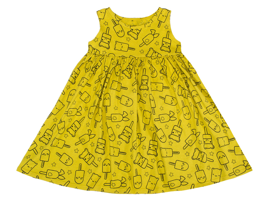 Popsicle Smiles Print Empire-Waist Tank Dress in Chartreuse