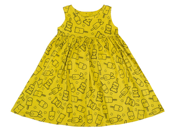 Popsicle Smiles Print Empire-Waist Tank Dress, Chartreuse
