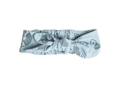 Rainbow Smiles Print Headband, Dusty Blue
