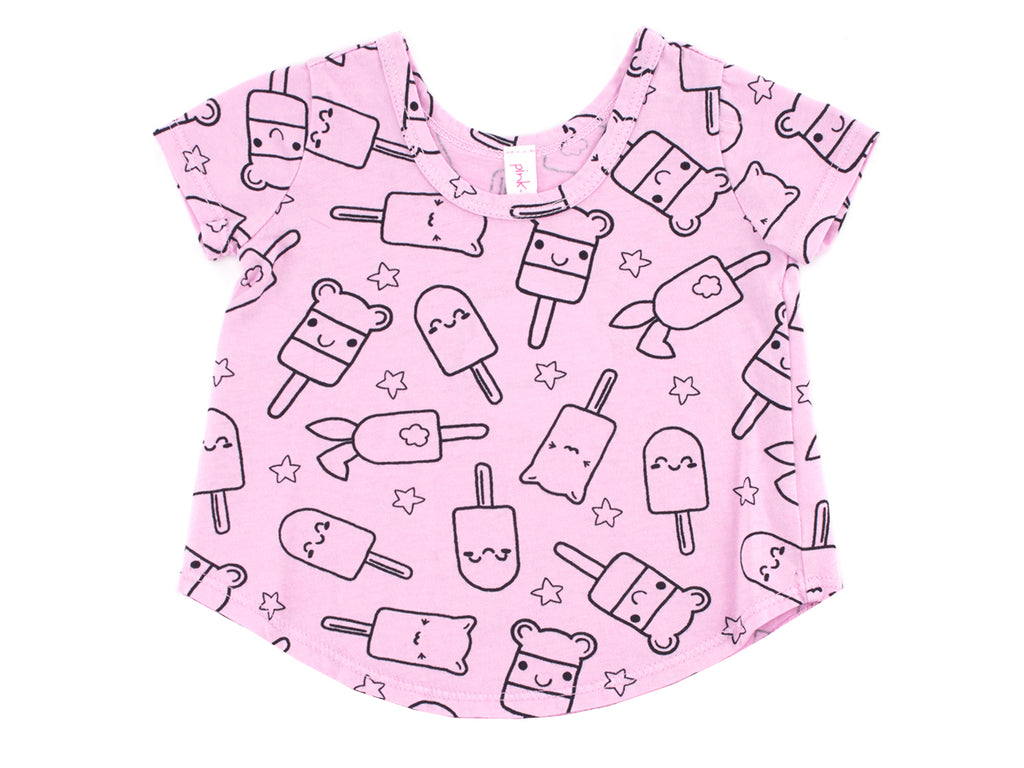 Popsicle Smiles Print Tee in Peony Pink