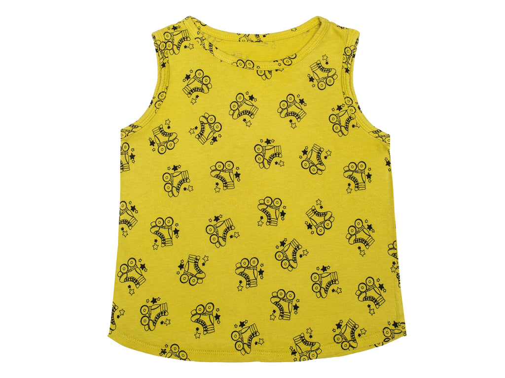 Roller Skates Print Tank Top in Chartreuse