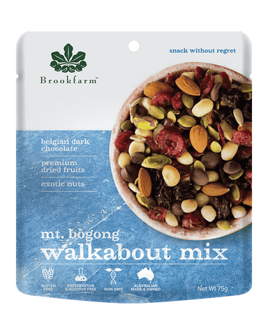 澳洲農場無麥麩乾果果仁黑朱古力小食 Brookfarm Gluten Free Nut, Fruit and Dark Chocolate Walkabout Mix (75g)
