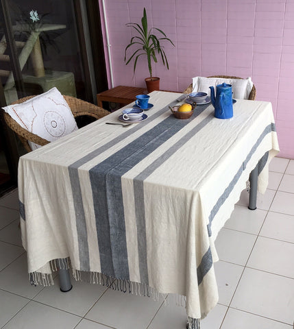非洲全棉長方檯布 (灰藍) Ethiopian Gondar Grey Blue Table Cloth (Large)
