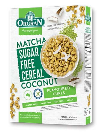無麥麩低糖椰子綠茶早餐穀物 Orgran Sugar Free Matcha and Coconut Cereal (200g)