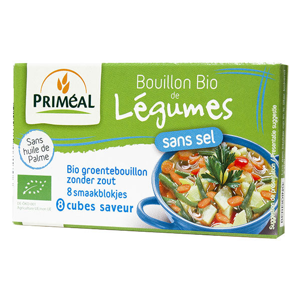 法國有機無鹽蔬菜上湯粒 (不含味精) Priméal Organic Vegetable Stock Cubes with No Salt (8 cubes)
